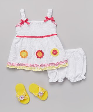 Real Love White Flower Seersucker Dress Set - Infant