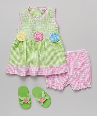 Real Love Green & Pink Flower Seersucker Dress Set - Infant
