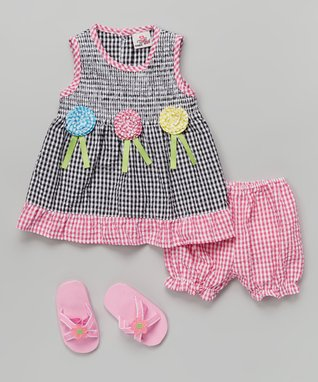 Real Love Black & Pink Flower Seersucker Dress Set - Infant