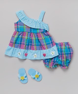 Real Love Blue & Pink Gingham & Plaid Dress Set - Infant