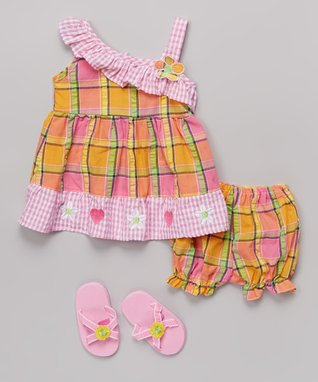 Real Love Pink & Orange Gingham & Plaid Dress Set - Infant