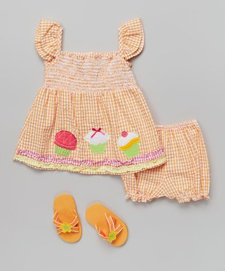 Real Love Orange Cupcake Gingham Seersucker Dress Set - Infant