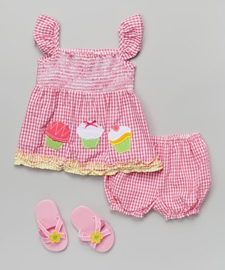 Real Love Pink Cupcake Gingham Seersucker Dress Set - Infant