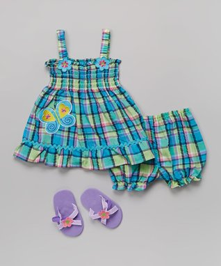 Real Love Blue & Green Butterfly Plaid Dress Set - Infant