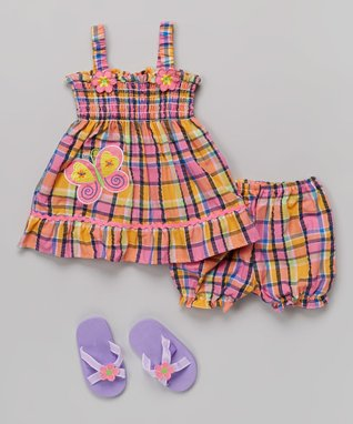 Real Love Pink & Orange Butterfly Plaid Dress Set - Infant