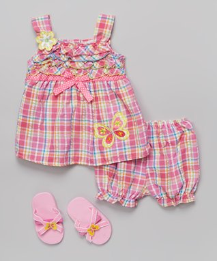 Real Love Pink Butterfly Plaid Dress Set - Infant