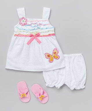 Real Love White Butterfly Dress Set - Infant
