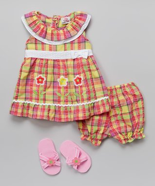 Real Love Yellow Flower Seersucker Dress Set - Infant