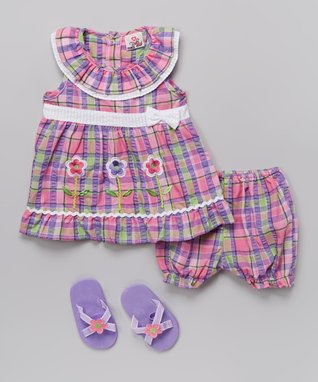 Real Love Pink & Purple Flower Seersucker Dress Set - Infant