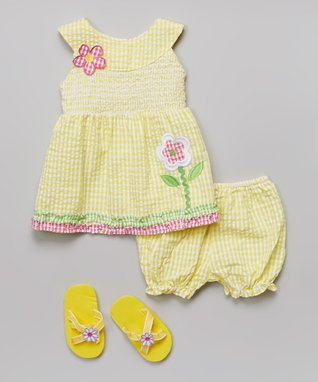Real Love Yellow Seersucker Dress Set - Infant
