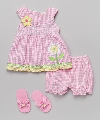 Real Love Pink Flower Gingham Seersucker Dress Set - Infant
