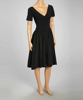 Luna Luz Black Surplice Dress