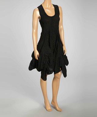 Luna Luz Black Popcorn Sleeveless Handkerchief Dress