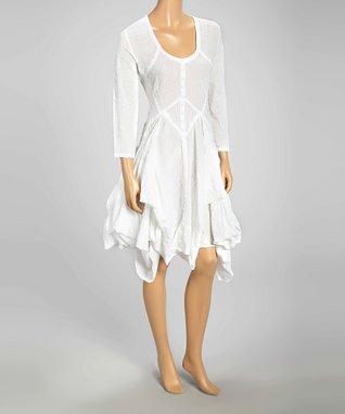 Luna Luz White Popcorn Scoop Neck Handkerchief Dress