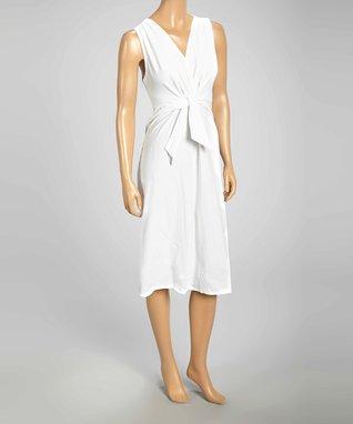 Luna Luz White Surplice Sleeveless Dress
