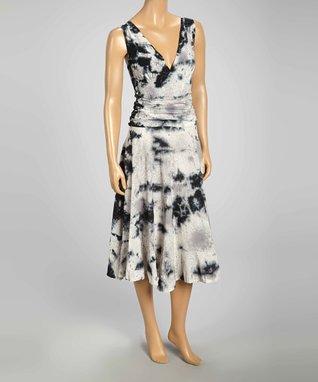 Luna Luz Black & White Graffiti Sleeveless V-Neck Dress