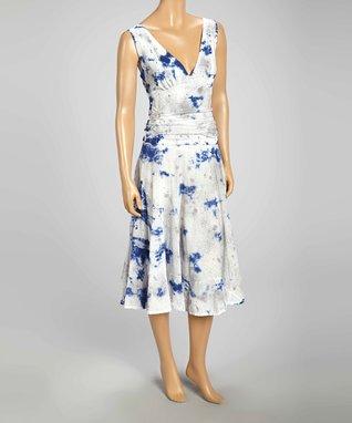 Luna Luz Blue & White Graffiti Sleeveless V-Neck Dress
