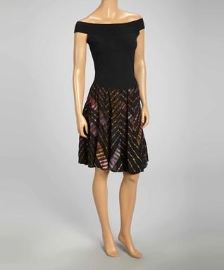 Luna Luz Black Tie-Dye Off-Shoulder Dress