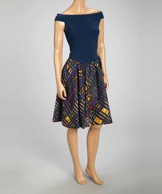 Luna Luz Navy Tie-Dye Off-Shoulder Dress