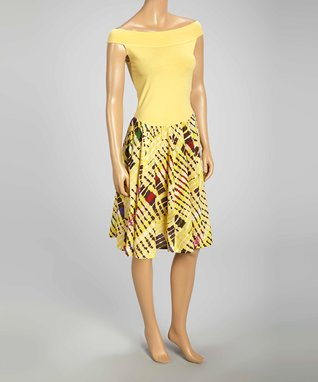 Luna Luz Yellow Tie-Dye Off-Shoulder Dress