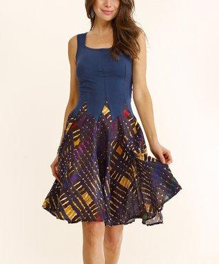 Luna Luz Navy Tie-Dye Square Neck Sleeveless Dress