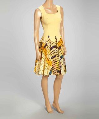 Luna Luz Yellow Tie-Dye Square Neck Sleeveless Dress