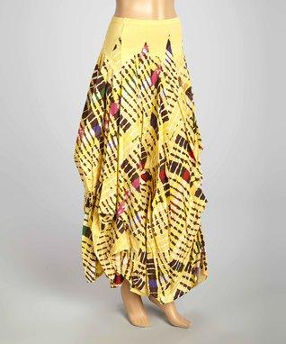 Luna Luz Yellow Tie-Dye Skirt