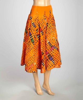 Luna Luz Orange & Green Tie-Dye Skirt