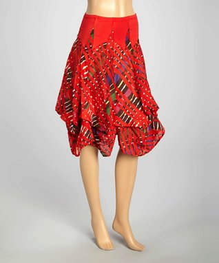 Luna Luz Red & Green Lattice Six-Tie Skirt