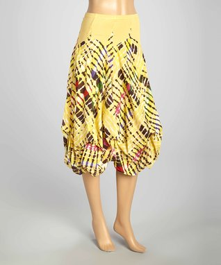 Luna Luz Yellow & Green Lattice Six-Tie Gathered Skirt