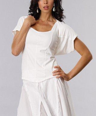Luna Luz White Knitted Shrug