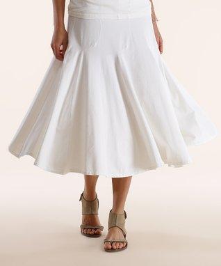 Luna Luz White Pleated Midi Skirt