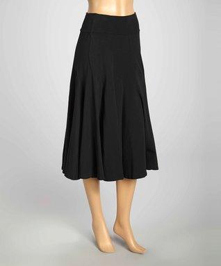 Luna Luz Black Pleated Midi Skirt