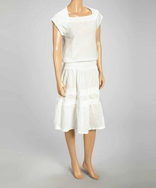 Luna Luz White Tier Drop-Waist Dress