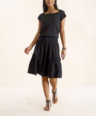 Luna Luz Black Tier Drop-Waist Dress