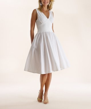 Luna Luz White V-Neck Fit & Flare Dress