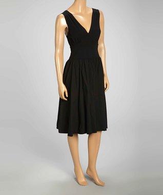Luna Luz Black V-Neck Fit & Flare Dress