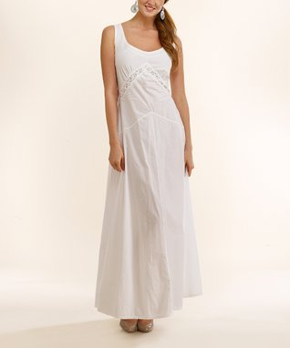 Luna Luz White Scoop Neck Maxi Dress