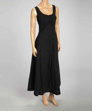 Luna Luz Black Scoop Neck Maxi Dress