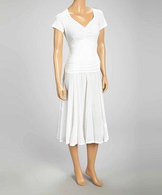 Luna Luz White Cap-Sleeve V-Neck Dress