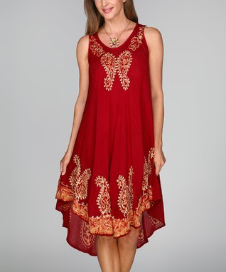 Red & Gold Paisley Sleeveless Shift Dress - Women