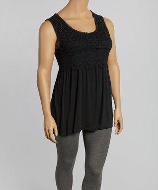 Black Crochet Sleeveless Tunic - Plus