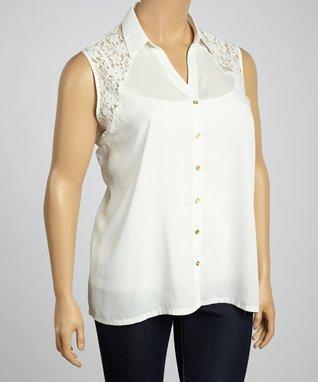 White Crochet Scoop Neck Top - Plus