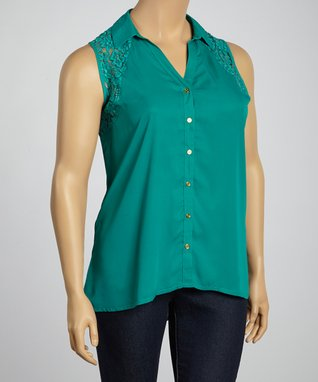 Emerald Floral Lace Sleeveless Button-Up Top - Plus