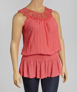 Black Floral Lace Sleeveless Button-Up Top - Plus