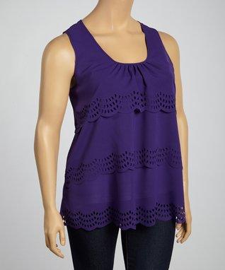 Purple Cutout-Tier Sleeveless Top - Plus