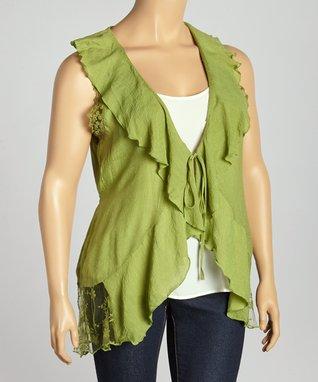 Green Lace & Ruffle Vest - Plus