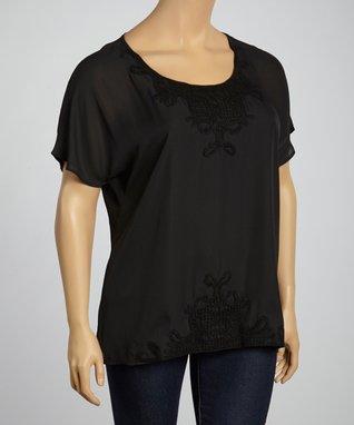 Black Crochet Blouson Top - Plus