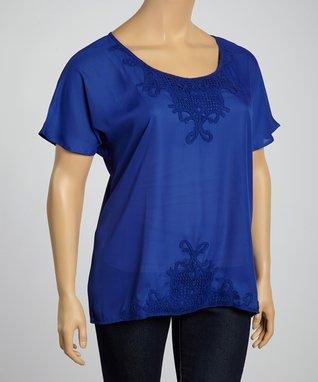 Lapis Embroidered Scoop Neck Top - Plus