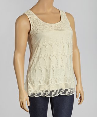 Red Lace Cap-Sleeve Tunic - Plus